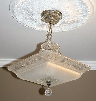Antique large square frosted glass art deco custom light fixture chandelier 2 • CAD $608.29