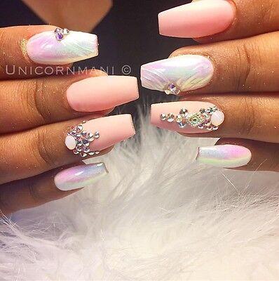 7 Of 12 UNICORN CHROME White Mirror Effect Powder Nail Art Mermaid Rainbow AB Crystal Um