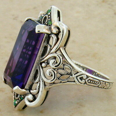 6 Ct. Lab Amethyst Antique Victorian Style 925 Sterling Silver Ring Size 10,#465 2