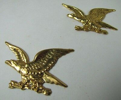 Old Pair Brass Figural Eagle Decorative Ornamental Hardware Adornments detailed 2