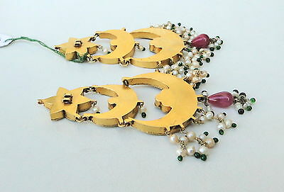 Vintage Antique 20K Gold Diamond Polki Ruby Emerald Pearl Earring Pair India 6