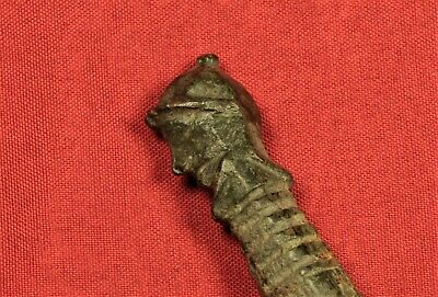 Fine Medieval Bronze Knife Handle Military Head! Rare! 2