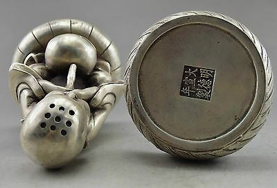 Collectible Decorated Handwork Old Tibet Silver Carve Monk Prayer Incense Burner 3