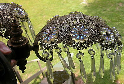 Victorian Brass Waterfall Fine Lace Double Shade Wall Sconce Opalescent Overlay 4