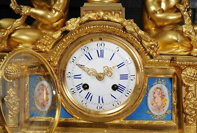 Large Antique French Ormolu And Sevres Porcelain Clock Cherubs Stunning 1850 5