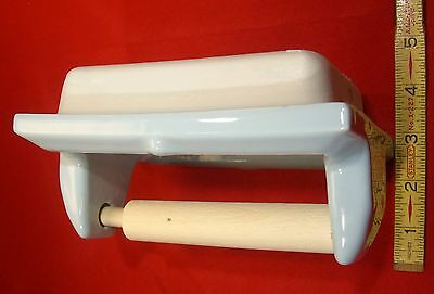 Vintage *Light Blue* Glossy Ceramic Toilet Paper Holder by Fairfacts     NOS 7