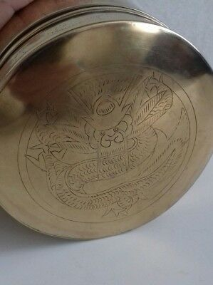 Antique Chinese Brass Hand Engraved Container Box Teapot Caddy. Serpent. 3