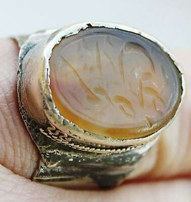 Persian antique Islamic silver plated amulet agate ring seal Arabic calligraphy 3