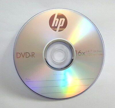 100 HP Blank 16X DVD-R DVDR Branded Logo 4.7GB Media Disc 4