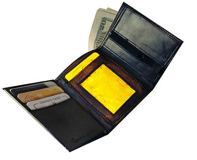 Rfid Block Mens Leather Trifold Wallet Id Card Holder Plain Coin Zip Pocket 8