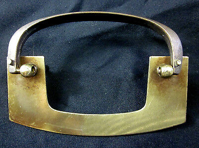 "Vintage brass plated mid century modern drawer drop bail pull 4-13/16"" width 3"