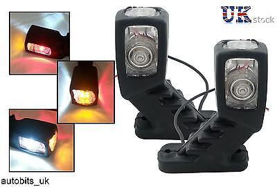 4x STALK SIDE MARKER LED LIGHTS LAMPS WHITE RED AMBER 12V TRAILER TRUCK CARAVAN 2