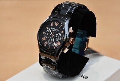 New Emporio Armani Men's Watch Ar1410 Black/Rose Gold Ceramica Chronograph 2