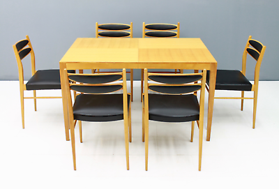 60er Years Dining Area Table & 6 Chairs Cherry & Leather Table Dining Room 60s 9