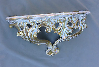 Wall Mirror Baroque White Gold with Console Table Antique Tray Shelf in the Set 7