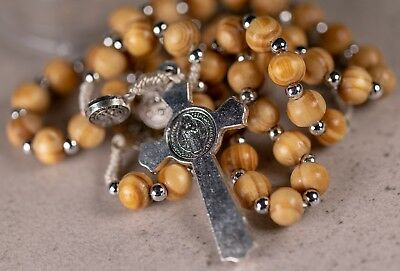 Rosary Wooden Beads StBenedict Crucifix Miraculous Medal 3-in-1 devotion NO CASE 3