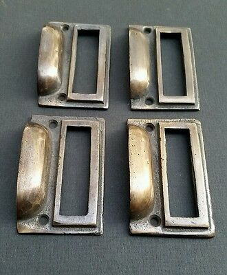 "4 tarnished brass File Apothecary drawer pull Handles 2 3/4"" Label holders #F1 4"