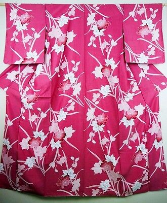 Contemporary Japanese Kimono/Coat/Robe Rose Pink 'Orchids' M/L Washable GIFT? 3