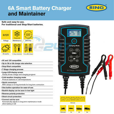 Ring RSC806 12v 6A Car Motorbikes Maintenance Start/Stop Smart Battery Charger 2