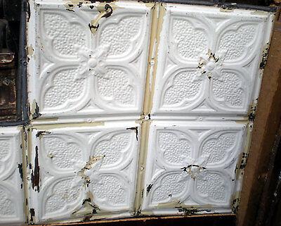Antique Victorian Ceiling Tin Tile Gothic Quatrefoil Flowers Shabby Chic Cottage