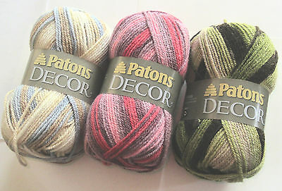1 Of 3 Patons Decor Yarn Variegated Colors