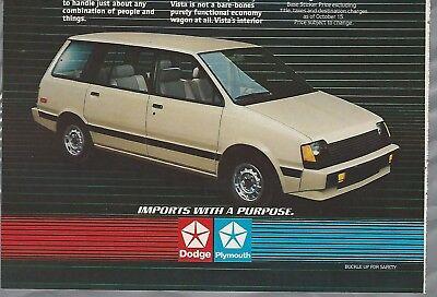 1984 DODGE VISTA advertisement, Dodge & Plymouth ad, Mitsubishi import