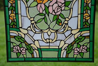 "Rose Flower Tiffany Style stained glass window panel,  20"" x 34"" 8"