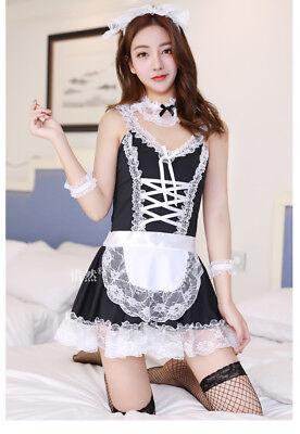 Costume Completo Cameriera Maid Serva Vestito Calze Rete Sexy Completino Abito 2