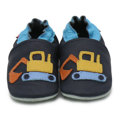 carozoo excavator dark blue soft sole leather slippers up to 8 years old 2