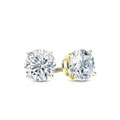 4ct CZ Stud Earrings Brilliant Cut Cubic Zirconia men women 10mm 14K gold plated 2