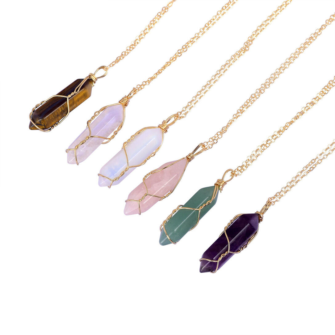 Natural Gemstone Necklace Chakra Stone Pendant Energy Healing Crystal with Chain 4