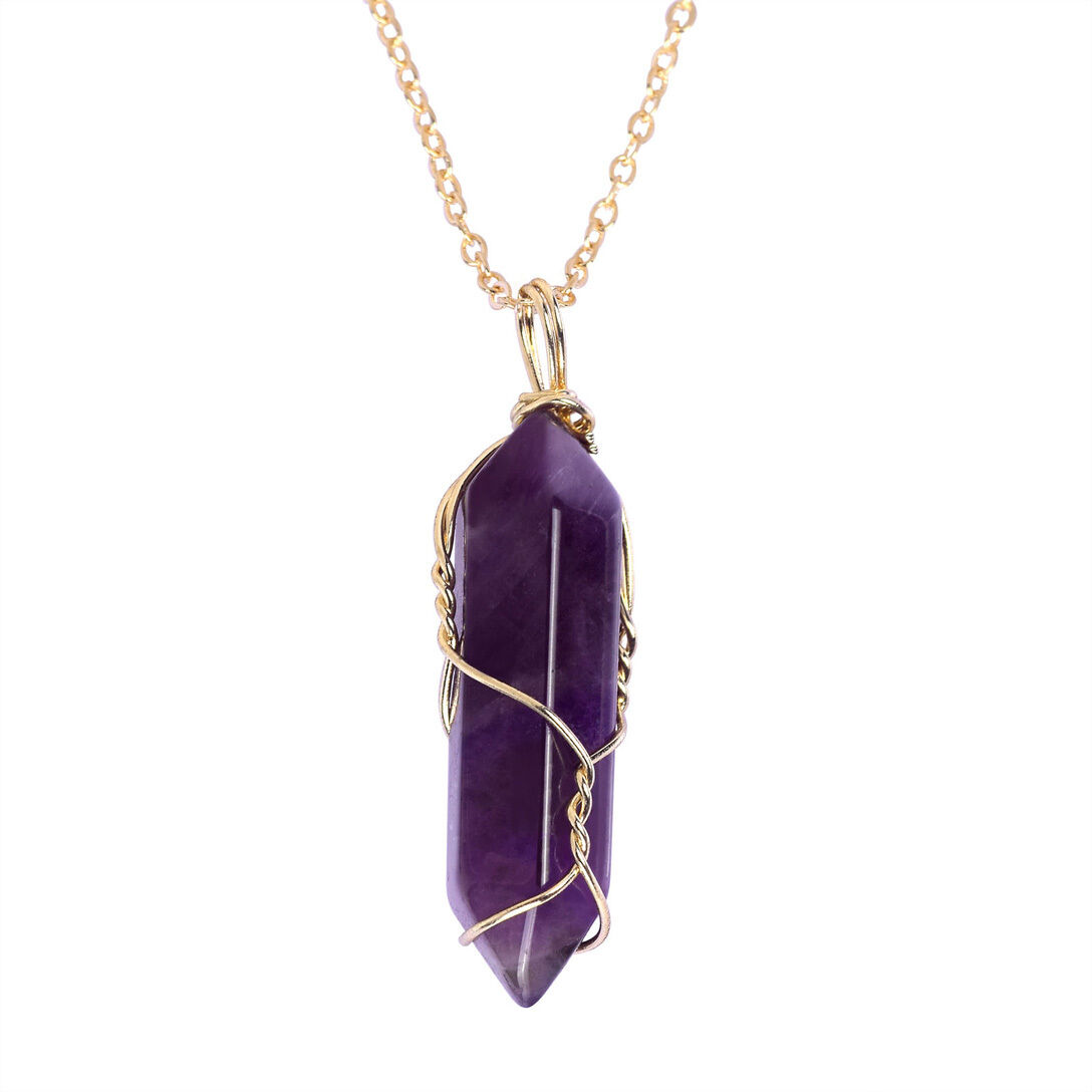 Natural Gemstone Necklace Chakra Stone Pendant Energy Healing Crystal with Chain 11