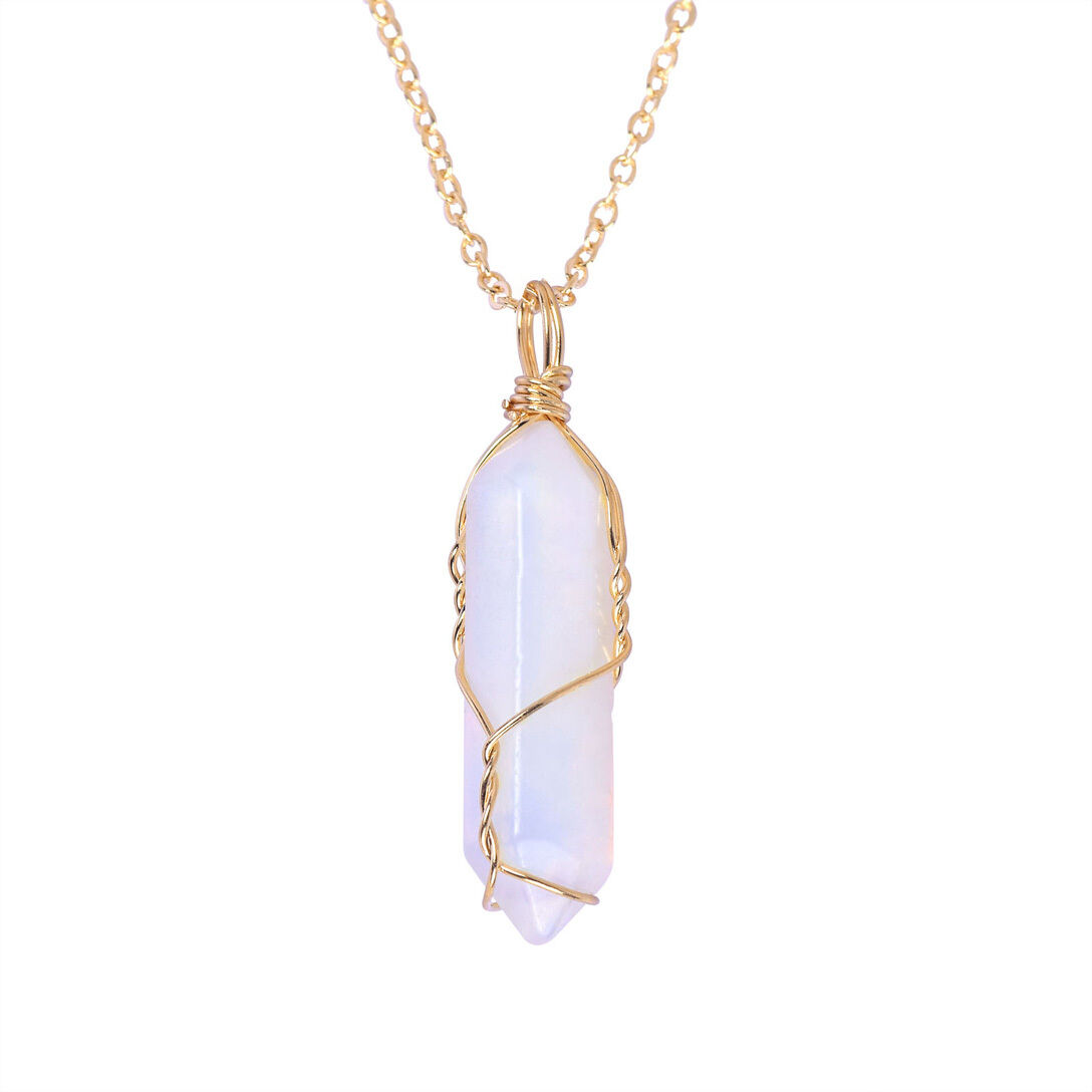 Natural Gemstone Necklace Chakra Stone Pendant Energy Healing Crystal with Chain 10
