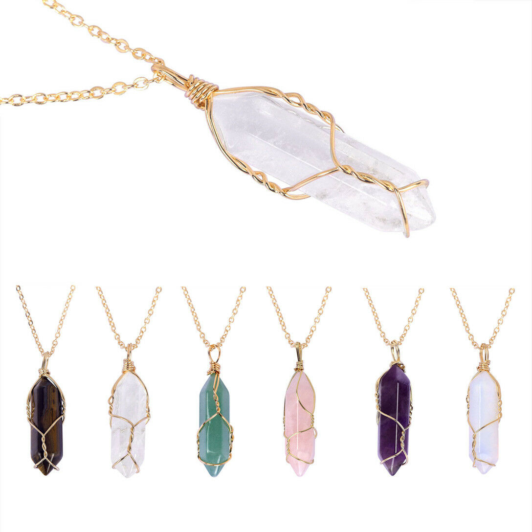 Natural Gemstone Necklace Chakra Stone Pendant Energy Healing Crystal with Chain 6