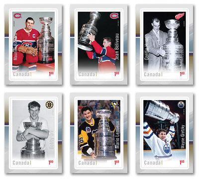 Canada Post NHL Stamps GRETZKY ORR HOWE BRODEUR HORTON CROSBY LEMIEUX 3