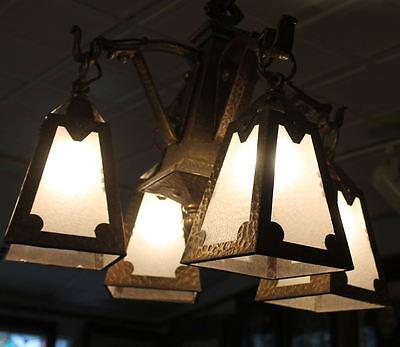 Arts & Crafts mission Hand Hammered hanging slag light glass Chandelier fixture 8 • CAD $5,398.56
