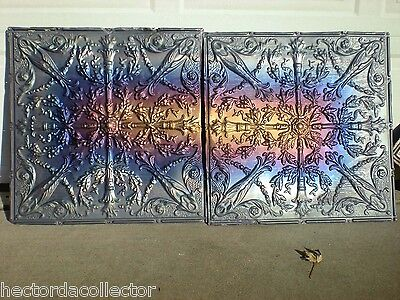 Antique Iridescent Victorian Ceiling Tin Torches Ancanthus Wreath Chic Fleur De 3