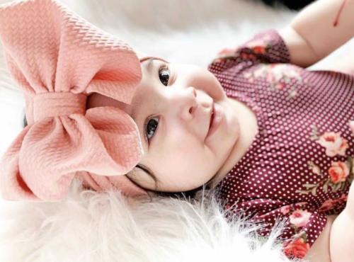 Handmade Baby Girls Large Bow Headband Infant Toddler Knot Hair Band Head Wrap 3