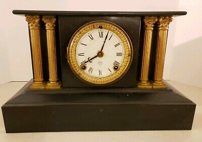 Antique Working 19th C. ANSONIA Victorian Black Iron Pillar Column Mantel Clock 4