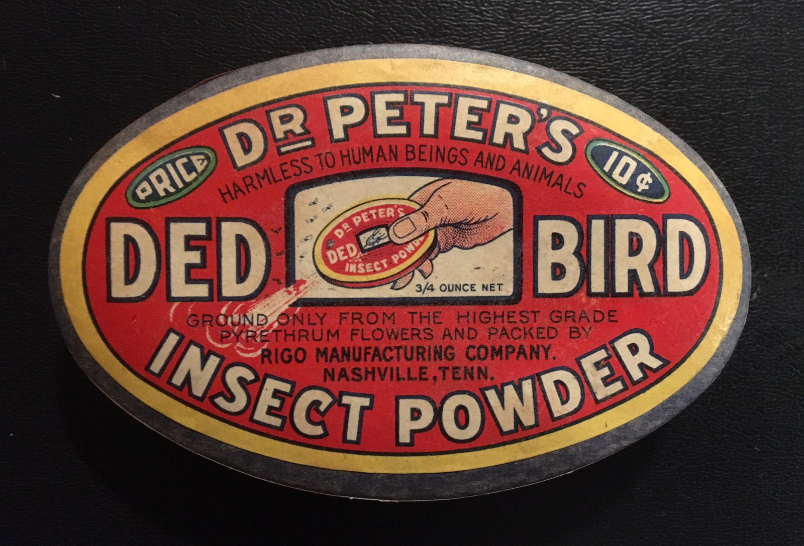 """1930/'s Rare Dr Peters DED BIRD Insect Powder Box """"Still Full"""" Superb Graphics!!"""