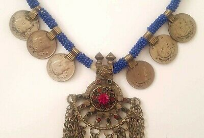 Old Kuchi Nomadic Red Green Glass Bells Coin SilverMix Filigree Necklace #UK755a 3