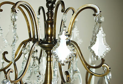 Magnificent Vintage French Style Crystal Pendalogue Tear Drop Prism Chandelier 7