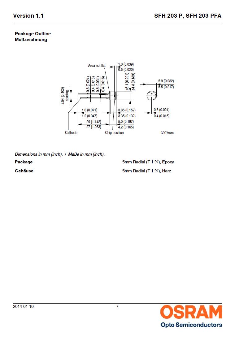 IR Infrared Si PIN Photodiode 750mn - 1100nm 75° 5mm 2-Pin Osram SFH 203 PFA