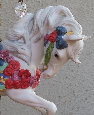 1 Porcelain Horse Carousel Lamp SWAG kids room Chandelier Vintage Crystal Rose 3