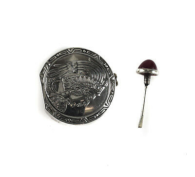 Mexico Sterling Silver Hand Chased Figural Perfume / Snuff Bottle & Cabochon Top 3