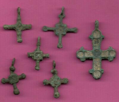Lot of 6 Russia Bronze Ortodox Cross ca 1050 11-12th Viking Byzantine 706 2