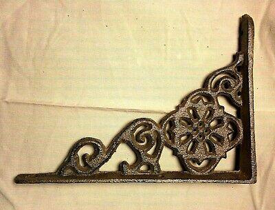 "SET of 2 ANTIQUE BRONZE VICTORIAN FLORAL STYLE cast iron brace bracket corbel 6"" 8"