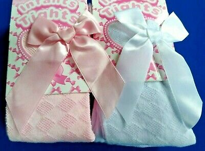Girls Spanish Style Tights Diamond Bow Age 0 1 2 3 4 5 Years White Pink Rose NEW 3
