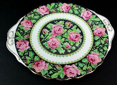 Royal Albert Needle Point Handled Cake Plate 10 inches Vintage Bone EUC 3
