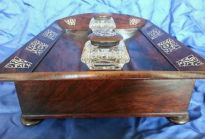 A William lV . Rosewood veneered Desk Standish / Ink well stand.Circa 1830's 7